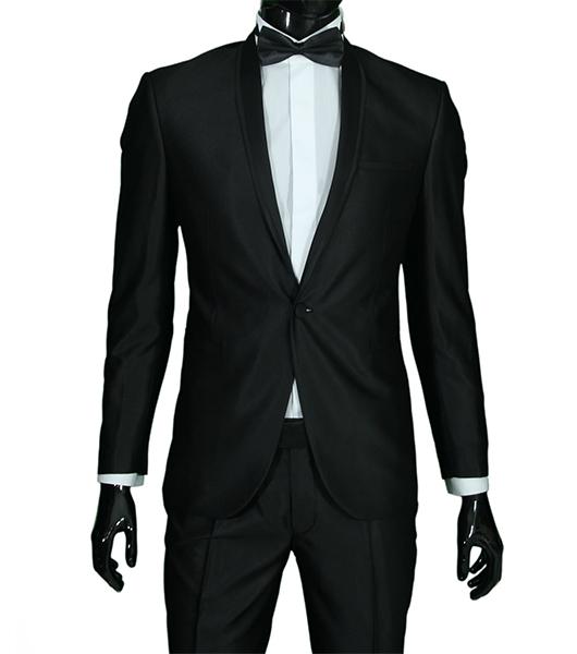 slim fit herren smoking in schwarz gl nzend anzug hochzeit b hne sakko ebay. Black Bedroom Furniture Sets. Home Design Ideas