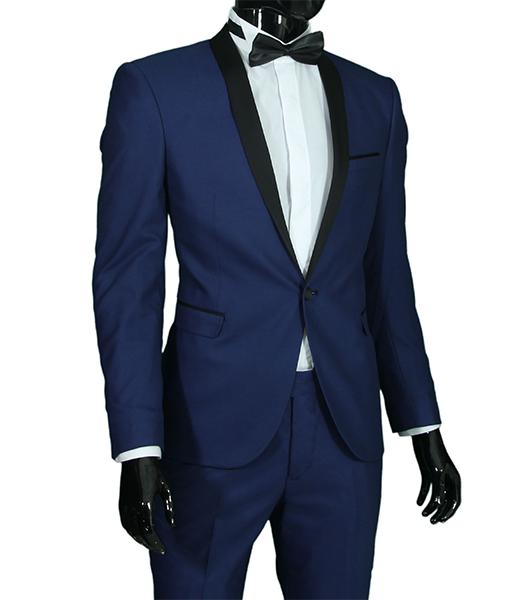 slim fit herren smoking in blau herrenanzug anzug hochzeit b hne sakko ebay. Black Bedroom Furniture Sets. Home Design Ideas