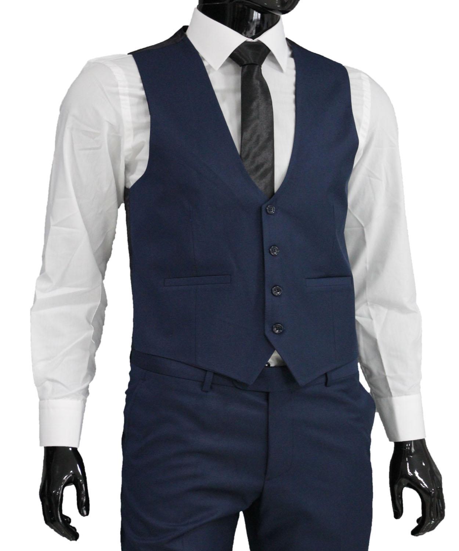 slim fit herren weste in blau herrenanzug anzug hochzeit b hne sakko ebay. Black Bedroom Furniture Sets. Home Design Ideas