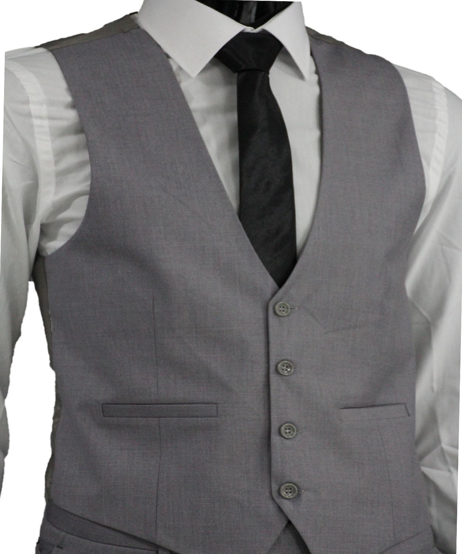 slim fit herren weste in grau herrenanzug anzug hochzeit b hne sakko ebay. Black Bedroom Furniture Sets. Home Design Ideas