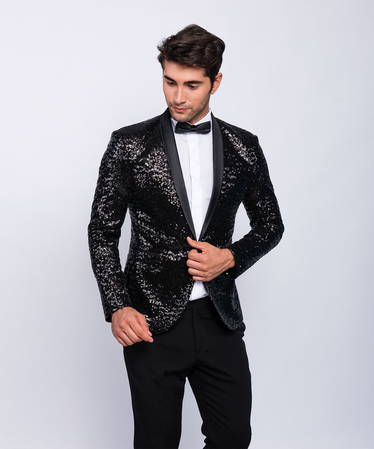 slim fit herren pailetten smoking in schwarz mit fliege anzug hochzeit b hne ebay. Black Bedroom Furniture Sets. Home Design Ideas