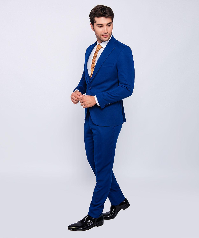 besser großes Sortiment neueste art Details zu Slim Fit Herrenanzug in Blau mit Weste -Hochzeit-Bühne-Sakko  -Anzug