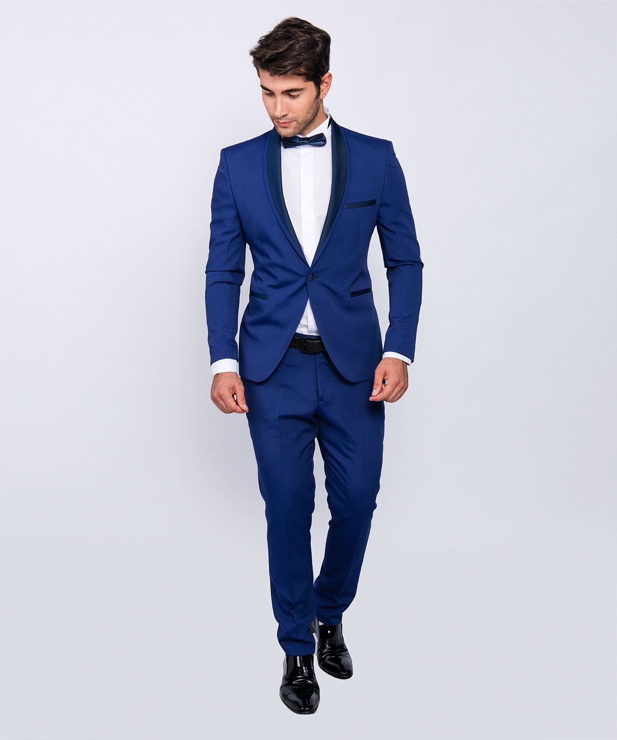slim fit herren smoking in blau anzug hochzeit b hne sakko ebay. Black Bedroom Furniture Sets. Home Design Ideas