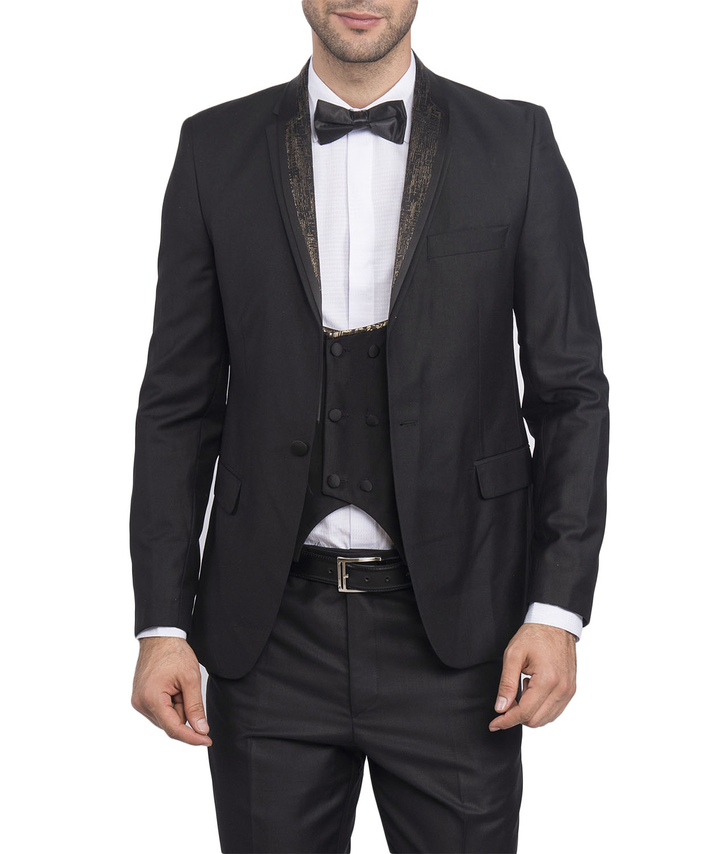 Slim Fit Herren Smoking In Schwarz Gold Mit Weste Anzug Hochzeit