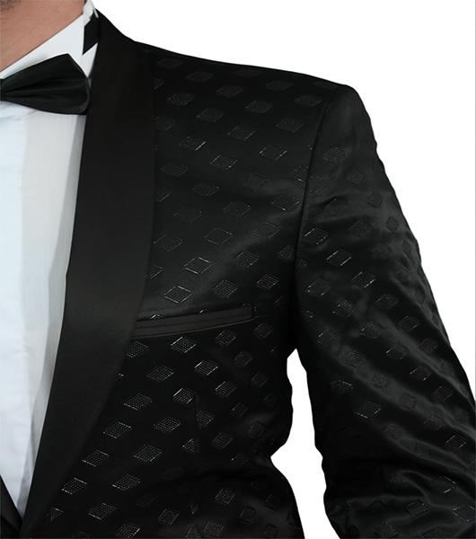 slim fit sakko in schwarz mit muster anzug hochzeit b hne. Black Bedroom Furniture Sets. Home Design Ideas