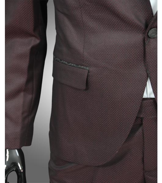 smoking in bordeaux rot verziert slim fit anzug sakko hose br utigam b hne. Black Bedroom Furniture Sets. Home Design Ideas